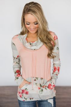 bb14576cbce Flowers   You ~ Peach Striped   Floral Cowl Neck Top – The Pulse Boutique  Cowl