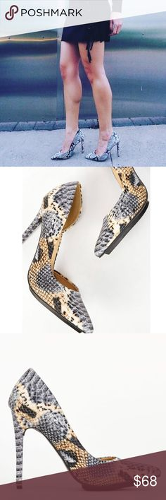 """{ The D'orsay Snake Print Pumps } We love these single d'orsay pumps! Merla is an all eyes on me style your closet has been begging for. Featuring a sleek pointed toe and an island platform, you'll never want to take these babies off. Heel height 4.5"""" • PRICE IS FIRM • NO OFFERS ACCEPTED & ABSOLUTELY NO TRADES• new in the box Shoes Heels"""