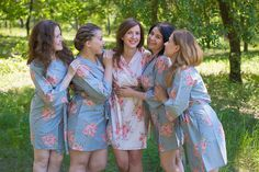 Robes by silkandmore - Gray Faded Floral Robes for bridesmaids, $25 (http://robesbysilkandmore.com/gray-faded-floral-robes-for-bridesmaids/)
