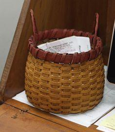Round Bottom Basket - mustard with red trim