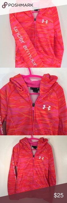 "Under Armour Hoodie Zipper hoodie by Under Armour. In excellent condition with no flaws. Bright orange and pink. Length 17"", chest 14"" across. Under Armour Shirts & Tops"
