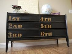 Reverse Stencil Dresser with Numbers