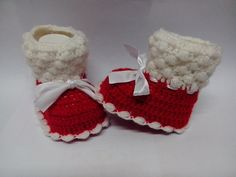 Instant Download -PATTERN ENGLISH  Crochet Baby Christmas/ Booties / Slippers / Shoes/3 size /Permission To Sell Finished Items) on Etsy, $4.95