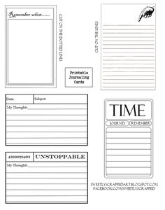 printable journaling cards - just what i need to finish up my week in the life book