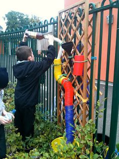 A Portable Water Wall | Creative STAR Learning | I'm a teacher, get me OUTSIDE here! Made by primary children for a nursery outdoor space.