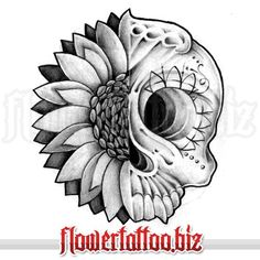 Tattoo design with skull and sunflower.