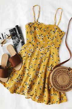 Daisies Go By Mustard Yellow Floral Print Dress. Summer Floral DressSummer  Casual ... eea2a93b605
