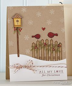 handmade card  ... kraft ... winter scene ... die cuts ... snow drifts, fence, red birds, bird house ...