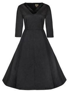 Fashion Bug 3/4 Sleeved V Neck Vintage 1950s Party Swing Dress (size 1X 2X 3X 4X 5X 6X www.fashionbug.us #PlusSize #FashionBug #Vintage #PinUp #Rockabilly #Retro