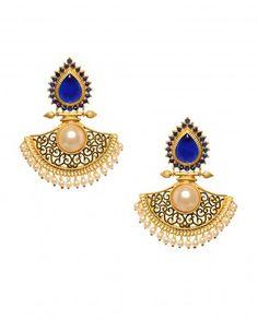 Golden Fan Earrings with Blue Stone Top