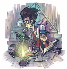 I think this version is more colorfull then first one It seems we need to have a break (version But here is no Bill. It seems we need to have a break (version Gravity Falls Comics, Fantasy Art Landscapes, Fandom Crossover, Afraid Of The Dark, Cartoon Games, Disney Animation, Funny Comics, Amazing Art, Cool Art