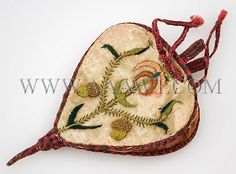 Embroidered Silk  Drawstring Purse  17th Century  England