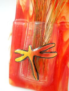 New Red Glass Wall Vase Copper Look Dichroic Dragonfly Dried Flowers Included #GlassConfusion