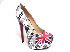 VERONA PLATFORM- Newsworthy shoes- Headline print and Union Jack design add wow factor and patriotsm to your outfit £32.50