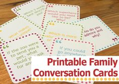 Free Printable Family Conversation Cards | Childhood101. Great for dinner time or even road trips