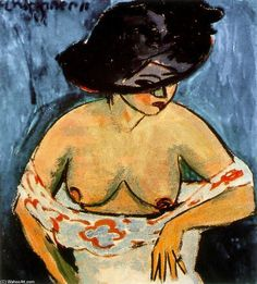 Ernst Ludwig Kirchner, Half-Naked Woman with a Hat, 1911