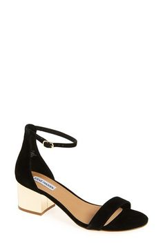 Free shipping and returns on Steve Madden 'Irenee-G' Mirror Block Heel Sandal (Women) at Nordstrom.com. A gleaming gilt block heel catches the light on a trend-savvy sandal shaped from lush suede in a minimalist silhouette with a svelte, leg-lengthening ankle strap.