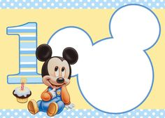 Mickey Mouse is a cute theme for the party of your child's first birthday. Disney made a lot of official licensed products first birthday very easy for you to integrate Baby Mickey Mouse, Mickey Mouse Clubhouse, Mickey Mouse Template, Festa Mickey Baby, Theme Mickey, Mickey Mouse First Birthday, Mickey Mouse Birthday Invitations, Baby Boy Birthday, Mickey Party