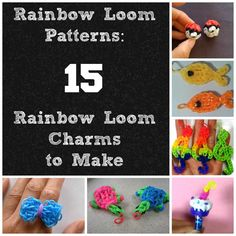Rainbow Loom Patterns: 15 Rainbow Loom Charms to Make. Includes patterns for animal charms and so much more! Rainbow Loom Tutorials, Rainbow Loom Patterns, Rainbow Loom Charms, Rainbow Loom Bracelets, Monster Tail Loom, Loom Craft, Rubber Band Bracelet, Loom Bands, Crafty Craft