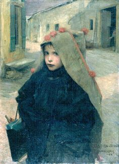 """""""Going To School"""" ... by Jules Bastien Lepage (1848 – 1884, French)"""