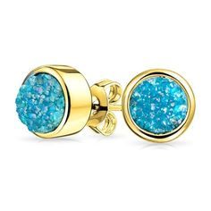 Bling Jewelry Bling Jewelry 8mm Dyed Teal Druzy Quartz Stud Earrings... ($12) ❤ liked on Polyvore featuring jewelry, earrings, blue, quartz stud earrings, round stud earrings, blue stud earrings, stud earrings and quartz earrings