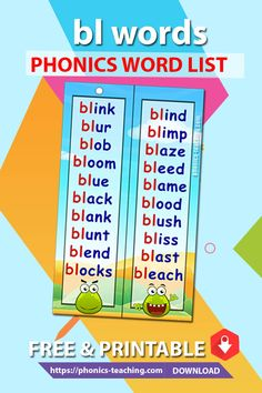 bl Phonics Cards - FREE Phonics Activity - Printable Word List - A great bookmark which makes for ideal phonics practice for older kids. Will make your phonics revision effective Phonics Lessons, Teaching Phonics, Phonics Worksheets, Phonics Activities, Jolly Phonics, English Worksheets For Kids, English Lessons For Kids, Learn English Words, Phonics For Kids