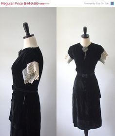 Vintage 1940s Black Dress 40s Black Velvet Fitted Cocktail Dress with Peplum Womens Size Small