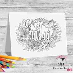Get Well Coloring Printable Note Cards | Etsy Jw Gifts, Letter Size, Get Well, Note Cards, Card Stock, Coloring, Printables, Notes, Lettering