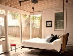 oh this must be the dreamiest bed ever! Swing yourself to sleep - imagine the rain...! outdoor bed 11
