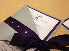 Silver & Purple Triangle Fold Wedding by UniqPaperCreations, $7.00