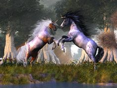 Fantasy Unicorns In The Forest Two unicorns were rendered in Poser and hair done in Adobe. Background I created in Vue Infinite. Thank for viewing^^