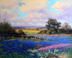 Robert William Wood Giclee painting - Bluebonnet scene