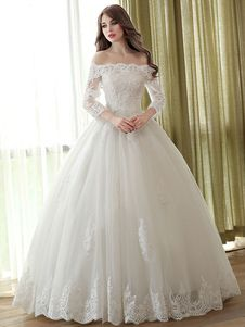 Lace Wedding Dress Princess Ball Gowns Off The Shoulder Ivory Bridal Dress Applique Beaded Half Sleeve Floor Length Wedding Gown Tulle Wedding Gown, 2016 Wedding Dresses, Cheap Wedding Dress, Bridal Dresses, Dresses 2016, Ivory Wedding, Elegant Wedding Gowns, Cheap Dress, Lace Dresses