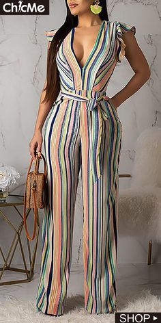 Women New Stylish Roaso Contracted Style Striped Jumpsuit Multi Style Outfits, Fashion Outfits, Jumpsuit With Sleeves, Striped Jumpsuit, Jumpsuits For Women, Long Jumpsuits, Flutter Sleeve, Sleeve Styles, Bodycon Dress