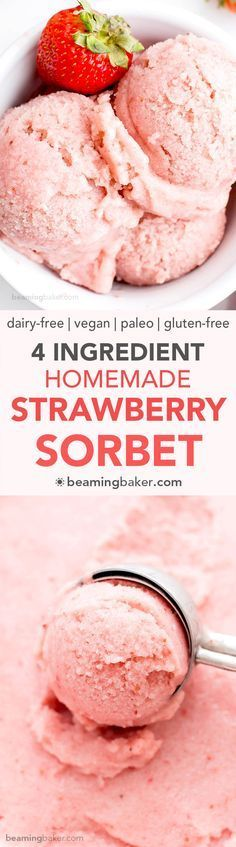 4 Ingredient Homemade Strawberry Sorbet (V+GF): an easy recipe for deliciously creamy and refreshing strawberry sorbet. (Vegan, Dairy Free, Paleo, Gluten Free)