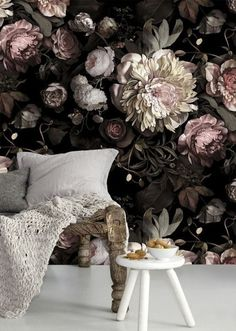 Wallpapers That Add Drama to Your Space This dark floral wallpaper mural is the perfect amount of feminine and modern.This dark floral wallpaper mural is the perfect amount of feminine and modern. Ellie Cashman Wallpaper, Of Wallpaper, Wallpaper Ideas, Flower Wallpaper, Beautiful Wallpaper, Large Floral Wallpaper, Perfect Wallpaper, Wallpaper Designs, Bedroom Wallpaper