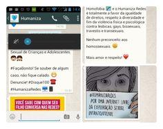 Mensagens enviadas pelo WhatsApp do Humaniza Redes | Crédito: Divulgação  Mais consciência e menos intolerância: confira as principais ferramentas online para denunciar violações de  direitos humanos                                                               Disque 100