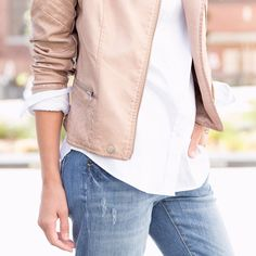 Stylist Tip: Want to up your fashion game? Trade in your blazer for a moto jacket to instantly elevate a white button-up (make sure your cuffs peek out!).