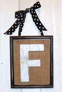 map covered letter in burlap frame  live. love. scrap.