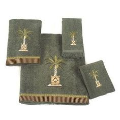 beach decor green palm towels