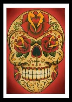 Sugar skull Art Print⭕️✖️More Pins Like This One At #FOSTERGINGER @ Pinterest✖️⭕️