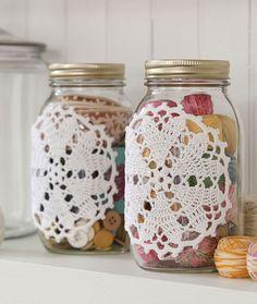 Hearts Desire Doily-ed Jars - free crochet pattern