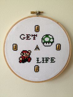 Super Mario Inspired Get A Life Cross Stitch Hoop by stephXstitch