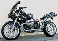 BMW R1100S fitted with Black Hole manifolds, exhausts and miscellaneous gadgetry