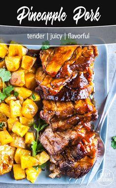 Easy recipe for fork tender pineapple pork. Several glaze ideas for an appetizing presentation. Pork Loin Pineapple Recipe, Pineapple Recipes, Pork Roast Recipes, Pork Tenderloin Recipes, Beef Tenderloin, Roast Brisket, Cooking Recipes, Game Recipes, Cooking Tips