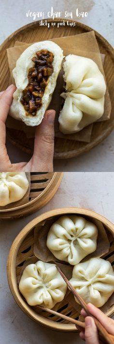 Vegan char siu bao (sticky pork buns) - Lazy Cat Kitchen - The Best Chinese Recipes Vegan Foods, Vegan Dishes, Vegan Vegetarian, Vegetarian Recipes, Vegan Lunches, Veggie Recipes, Whole Food Recipes, Cooking Recipes, Snacks Recipes