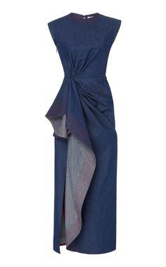 Asymmetric Draped Cotton Midi Dress by Prabal Gurung Silk Shirt Dress, Satin Midi Dress, Midi Dress With Sleeves, Blue Denim Dress, Prabal Gurung, Daily Fashion, Menswear, Cotton, Fashion Design