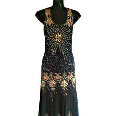 Vintage 1920s Style, Great Gatsby Dress, Art Deco Heavy Embellished Maxi Dress, Downton Abbey, Bohemian, Festival, Gypsy 20s Long Prom Dress