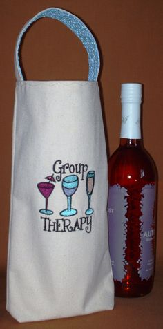 Embroidered eco friendly canvas fabric wine by HemlockCreation, $13.00