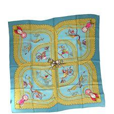 b961b70ab170 Authentic HERMES Logos XL Scarf Handkerchief Silk Blue Blue Gold Vintage  09Z774 Hermes Scarves, Silk